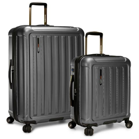 """Art Of Travel 2-Piece Expandable 21"""" Carry-On Smart Usb Charging Luggage & 29"""" Large Check Spinner Luggage Set - Metallic Gray"""