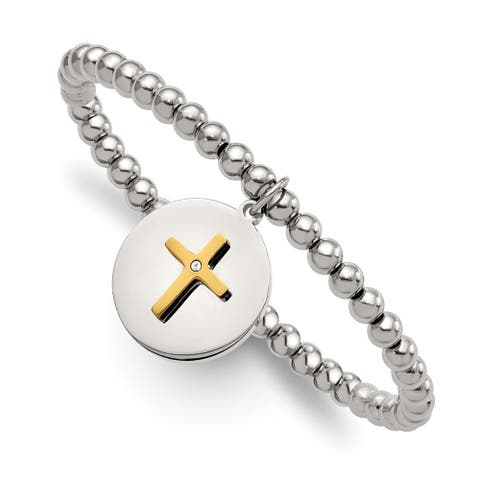 Chisel Stainless Steel Polished Yellow IP-plated Cross with Crystal FAITH Stretch Bracelet