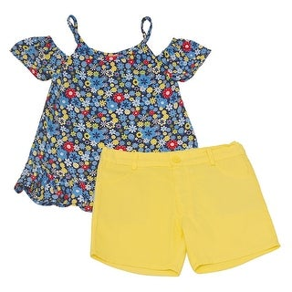 Little Girls Yellow Blue Floral Cold Shoulder Top 2 Pc Shorts Outfit