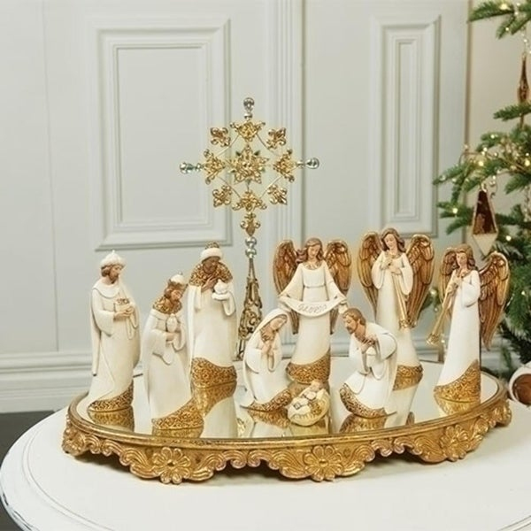 "21"" Religious Christmas Mirror Ornate Base for Nativity Set - GOLD"