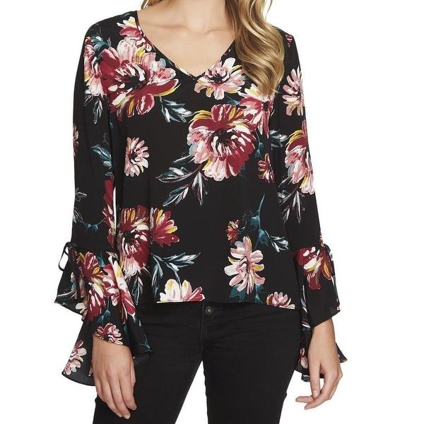 1. State Black Womens Size Medium M Floral Cascade Sleeve Blouse