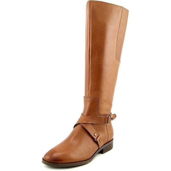 Nine West Blogger Wide Calf Women Round Toe Leather Tan Knee High Boot