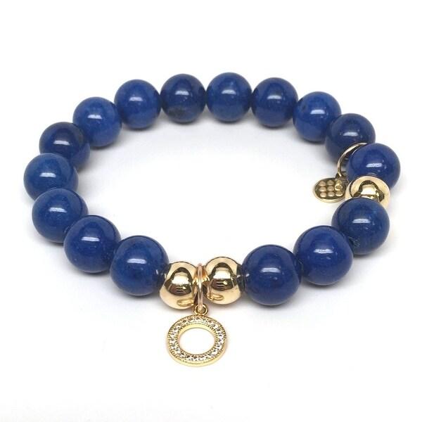 "Blue Jade Circle Charm 7"" Bracelet"