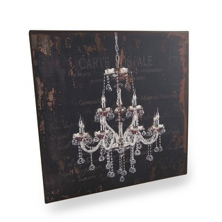 Red Chandelier On French Postcard Vintage Finish Metal Wall Plaque