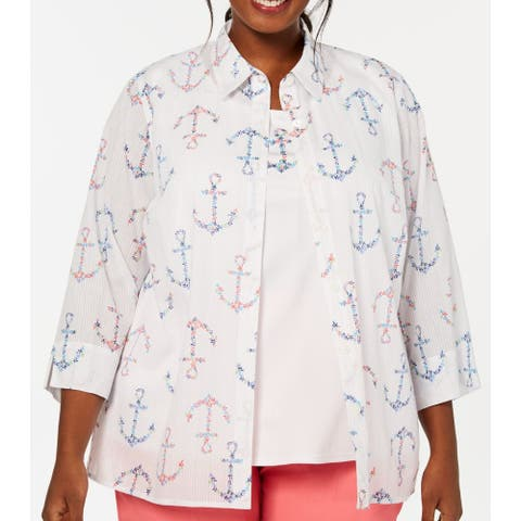 Alfred Dunner Womens Blouse White Size 2X Plus 2Fer Anchor Print Shimmer