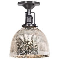 """JVI Designs 1202-18-S5-SR Union Square 1 Light Semi-Flush 9.75"""" Tall Ceiling Fixture with Antique Mercury Ribbed Mouth-Blown"""