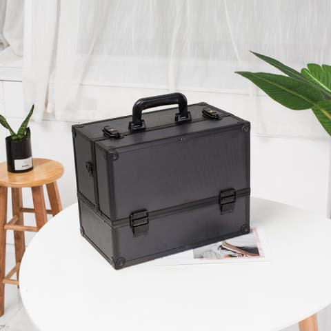 Adjustable Makeup Train Case Makeup Storage Organizer Box with Lock