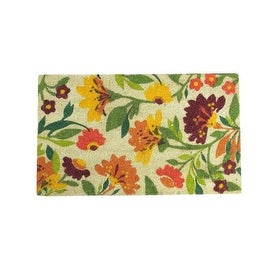 "Decorative Multi-Color Spring Floral Coir Outdoor Rectangular Door Mat 29.75"" x 17.75"""