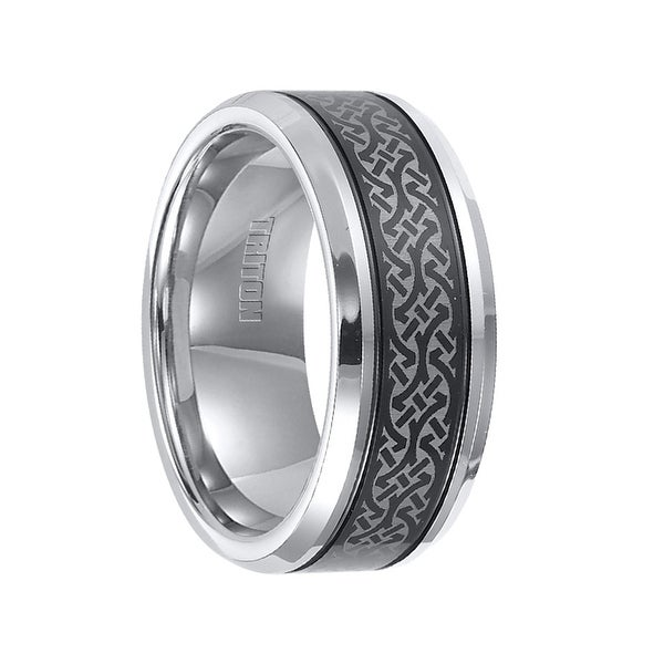 KENYON Beveled Laser Engraved Pattern Tungsten Ring with Black Offset Grooves by Triton Rings - 9mm