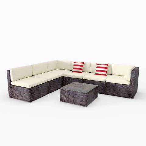 Outdoor Sofa Set of 7 Pieces,PE Rattan Wicker Sofa Set Can be Freely Combined with Pillow,Table and Mat - N/A