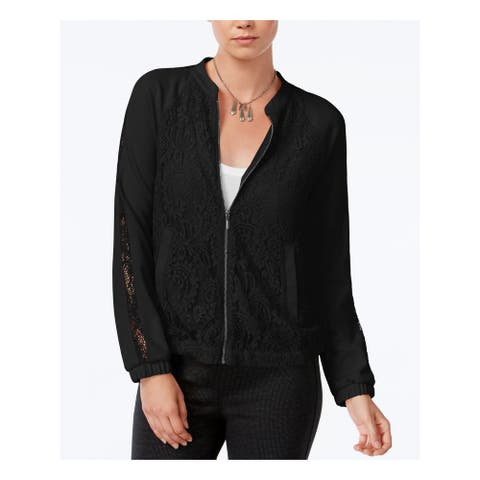 BAR III Womens Black Lace Bomber Jacket Size: 2XS