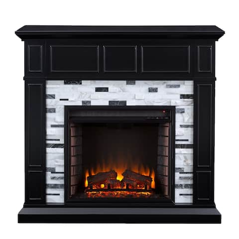 """45.5"""" Black and White Contemporary Electric Fireplace"""