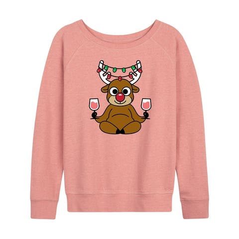 Wine Reindeer - Women's French Terry Pullover