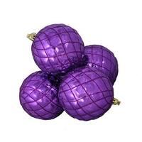 4 ct. Shiny Purple Diamond Shatterproof Christmas Ball Ornaments -