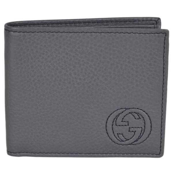 36703f9f820a Gucci Men's 322114 Grey Leather Soho GG Logo Bifold Wallet - 4.25