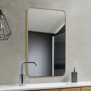 Link to Strick & Bolton Gold-finished Recessed Wall Mirror - Champagne Gold - 24*36*0.79 Similar Items in Mirrors