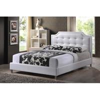 Carlotta White Faux Leather Platform Bed w/Upholstered Headboard (Full)