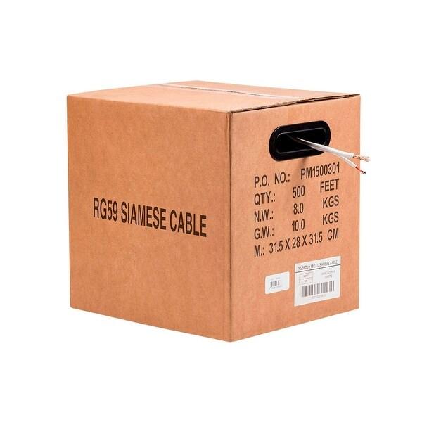 Monoprice 500FT Bare Copper RG59 w/2x18AWG Power, White CM (Premium Bare Copper)