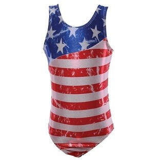 Reflectionz Big Girls Red White Blue American Flag Print Tank Leotard 8-10