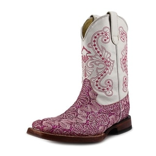 Ferrini Rockstar Youth Square Toe Leather White Western Boot
