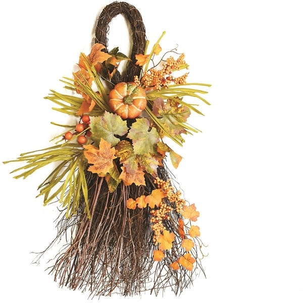 "26"" Autumn Harvest Decorative Artificial Pumpkins  Berries and Leaves Teardrop Door Swag - Unlit"