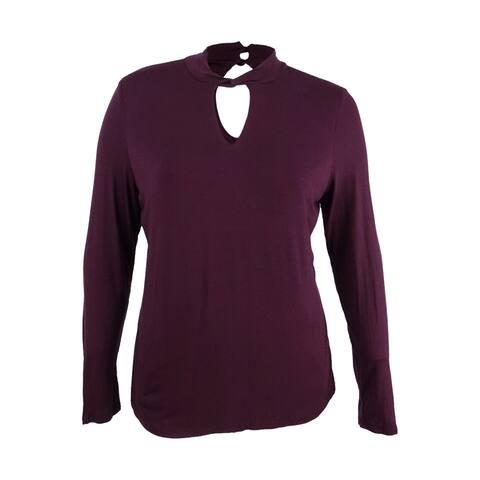 INC Women's Cutout Twist Mock-Neck Sweater (XL, Dark Red) - XL