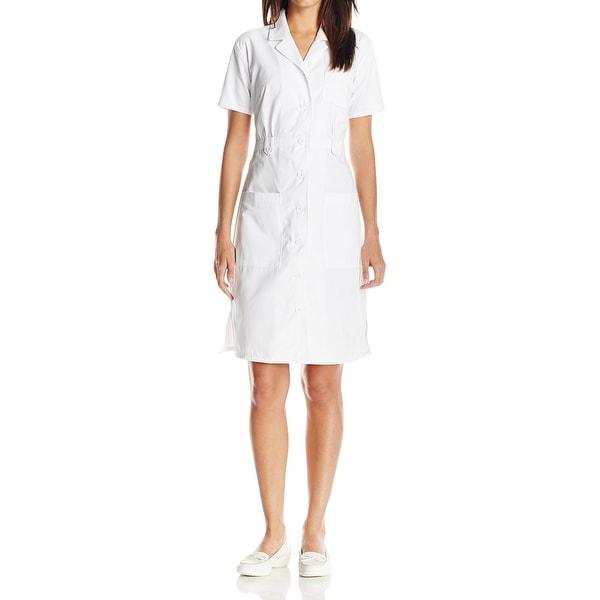 b9115058 Shop Dickies White Womens Size XL Medical Nurse Button-Front Shirt ...