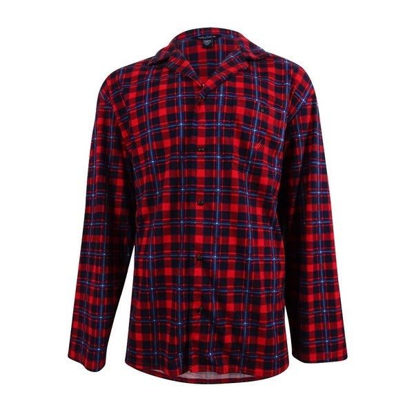 Shop Nautica Men s Red Plaid Lightweight Sueded Fleece Sleep Shirt ... 40b2f8ad3