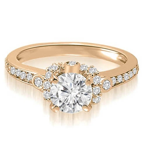 0.82 cttw. 14K Rose Gold Round Cut Diamond Engagement Ring