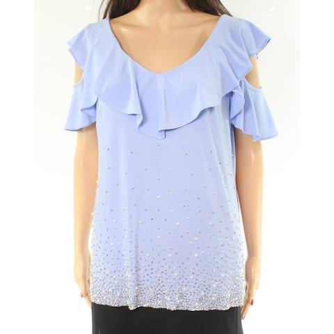 MSK Blue Embellished Cold-Shoulder Ruffled Large L Top Blouse