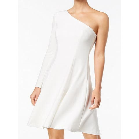 ae87d83a9f9 Calvin Klein White Ivory Womens Size 12 One Shoulder A-Line Dress
