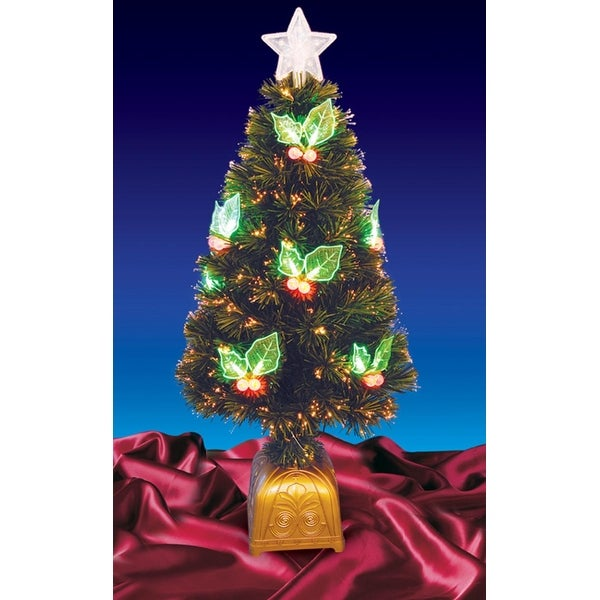 4' Pre-Lit LED Color Changing Fiber Optic Christmas Tree with Holly Berries - green