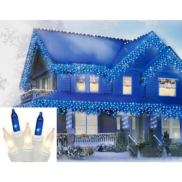 "Set of 300 Blue and Frosted Clear Icicle Christmas Lights 2"" Spacing - White Wire"