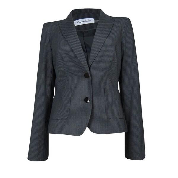 Calvin Klein Women's Pocketed Pinstripe Blazer - Charcoal/White