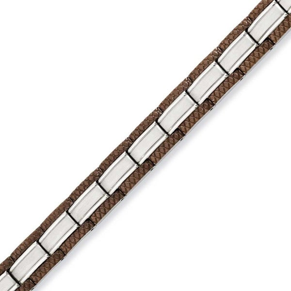 Stainless Steel Brown-plated 8.75in Bracelet