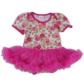Wenchoice Baby Girls White Hot Pink Rose Tutu Cotton Bodysuit