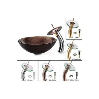 "Kraus C-GV-580-12mm-10 Bathroom Combo - 16-1/2"" Copper Illusion Glass Vessel Bat"