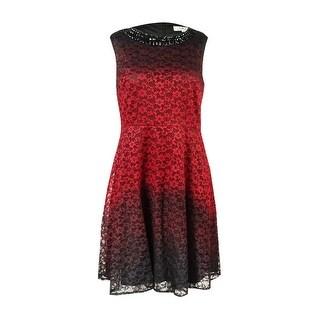 Sandra Darren Women's Petite Lace Ombre Fit & Flare Dress - Black/red