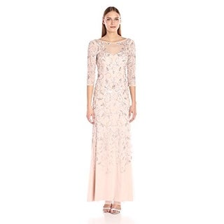 Adrianna Papell Women's Beaded Long Gown with Illusion Neckline - Shell