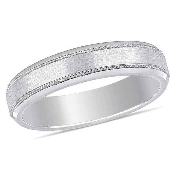 Miadora Ladies Brushed Textured Comfort Fit Wedding Band in 10k White Gold (4mm). Opens flyout.