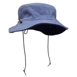 NICE CAPS Kids Distressed Denim Reversible and Adjustable Sun Hat - dark blue / light blue