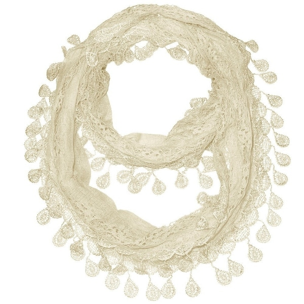 "Women's Sheer Lace Scarf With Teardrops Fringe - Cream - 62"" x 12"""