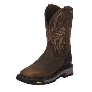 Justin Work Boot Mens Buffalo Square Toe Western Mahogany Brown WK2110
