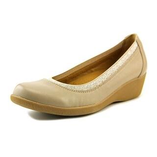 Softspots Stephanie II Women Open Toe Leather Gray Wedge Heel