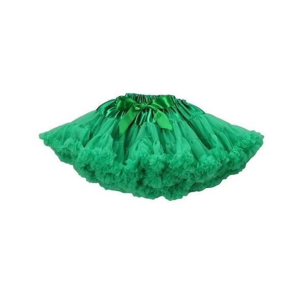 Royal Gem Little Girls Green Flouncy Satin Bow Chiffon Tutu Pettiskirt