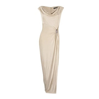 Lauren Ralph Lauren Women's Metallic Brooch Gown - Gold