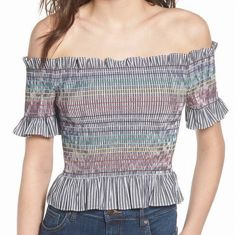 WAYF Gray Rainbow Stitched Off-Shoulder Smocked Large L Blouse