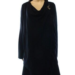 INC NEW Black Women's Size Large L Ruffle Ribbed-Knit Wrap Sweater
