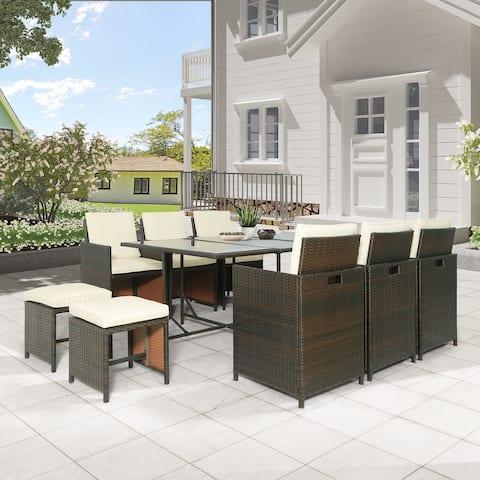 11-Piece Outdoor Rattan Wicker Patio Dining Table Set