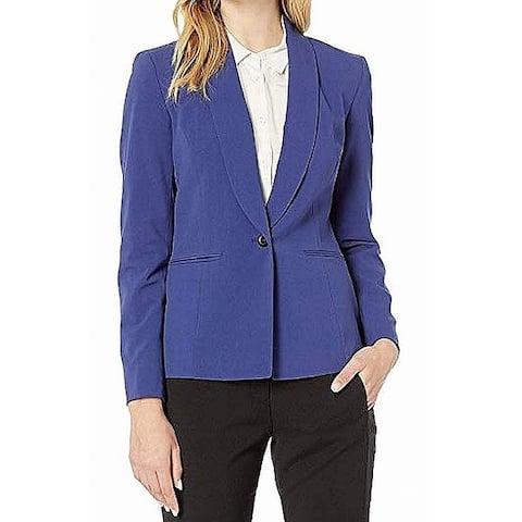 Anne Klein Women's Jacket Blue Size 4 Shawl-Collar One-Button Blazer